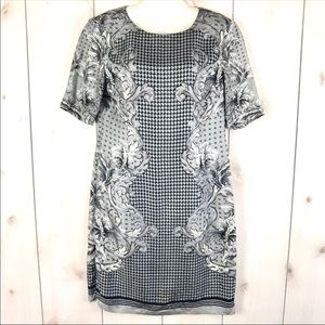 Brooks Brothers Gray Paisley Houndstooth Dress